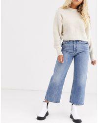 Monki Mozik Wide Leg Organic Cotton Jeans - Blue