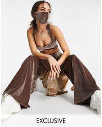 Fashionkilla Эксклюзивный Велюровый Кроп-топ Серо-коричневого Цвета На Перекрестных Лямках От Комплекта -коричневый Цвет