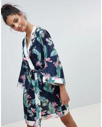 New Look - Tropical Leaf Print Robe - Lyst