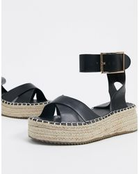 Glamorous Espadrille Platform Sandal - Black