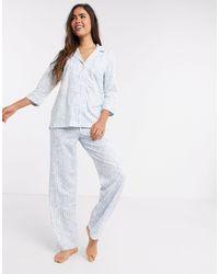 Lauren by Ralph Lauren Ralph Lauren Notch Collar Pyjama Set - Blue