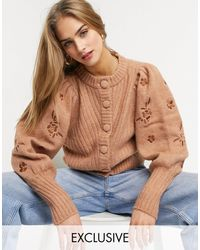 Y.A.S Embroidered Volume Sleeve Cardigan - Brown