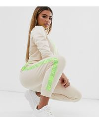 ASOS Asos Design Petite Tracksuit Cropped Sweat / jogger With Neon Reflective Tape - Multicolour