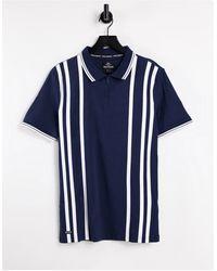 Threadbare Polo rayé à col zippé - bleu