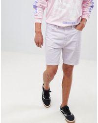 Bershka - Slim Fit Denim Shorts In Lilac - Lyst
