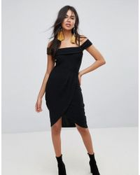 f1e272c0cb440 Lyst - Lavish Alice Sleeveless Cowl Neck Midi Dress With Double ...