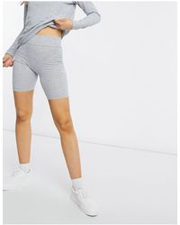 Miss Selfridge Co-ord Ribbed legging Shorts - Grey