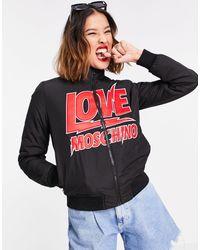 Love Moschino Giacca bomber leggera nera con logo sul davanti - Nero