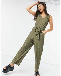 Vila Waist Tie Jumpsuit - Green
