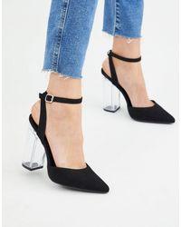 New Look Черные Туфли На Прозрачном Каблуке -черный