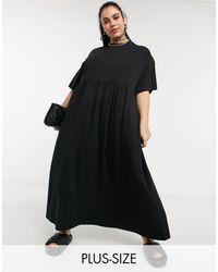 Collusion Plus Maxi Smock Dress - Black