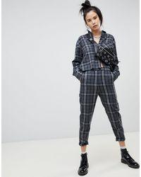 Pull&Bear Grey Check Pants Co-ord