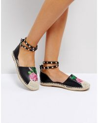 Truffle Collection - Embriodered Stud Ankle Espadrille - Lyst