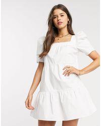 Fashion Union Свободное Платье Мини С Квадратным Вырезом -белый