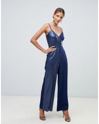 Little Mistress - Wrap Front Sequin Contrast Jumpsuit In Navy - Lyst