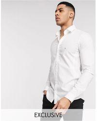 Calvin Klein Белая Приталенная Рубашка Из Легко Поддающейся Глажке Ткани Эксклюзивно Для Asos-белый