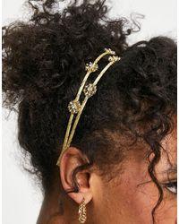 ASOS Metalen Haarband Met Bloemen - Metallic