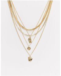 ASOS – Mehrlagige, goldene Halskette mit Anhängern - Mettallic