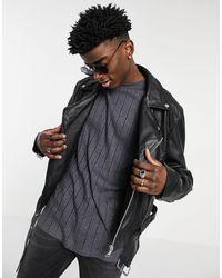 ASOS Cropped Leather Biker Jacket - Black