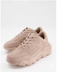 ASOS Faux Suede Trainers Chunky Sole - Pink