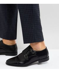 ASOS - Asos Wide Fit Monk Shoes In Black Faux Leather With Emboss Panel - Lyst