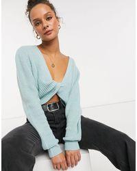 In The Style Jersey corto en color salvia con nudo frontal - Verde