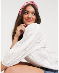 New Look Broderie Puff Sleeve Blouse - White