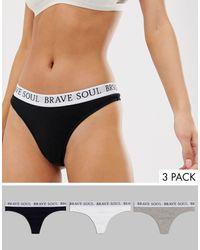 Brave Soul Confezione da 3 perizomi con elastico - Multicolore