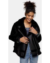 TOPSHOP Faux Leather Fur Trim Biker Jacket - Brown
