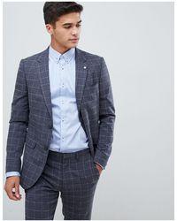Burton – Eng geschnittene Anzugjacke mit Fensterglaskaro - Grau