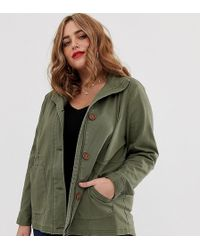 Simply Be Utility Jacket In Khaki - Green