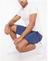BOSS by Hugo Boss – Schino – Schmal geschnittene Chino-Shorts - Blau