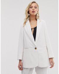 Closet Oversized Blazer In Oatmeal Stripe - White