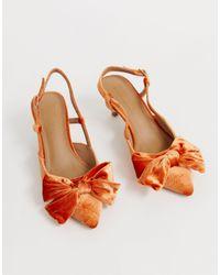 ASOS Оранжевые Туфли На Каблуке-рюмочке С Бантами - Оранжевый