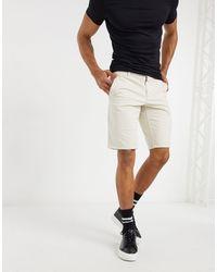 BOSS by Hugo Boss Schino - Dubbelgeverfde Slim-fit Shorts Met Stretch - Wit