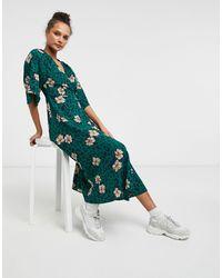 Liquorish Kimono Sleeve Wrap Midi Dress - Green