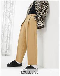 Reclaimed (vintage) Pantaloni eleganti con fondo ampio color pietra - Neutro