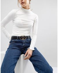 ASOS Leather Double Circle Waist And Hip Jeans Belt - Black