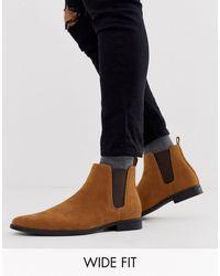 ASOS - Светло-коричневые Ботинки Челси Для Широкой Стопы Из Искусственной Замши - Lyst