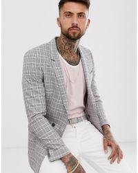 ASOS - Americana gris slim de doble botonadura con cuadros Príncipe de Gales rosas - Lyst