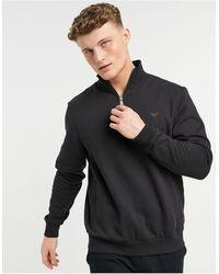 Threadbare 1/4 Zip Mix And Match Sweatshirt - Black