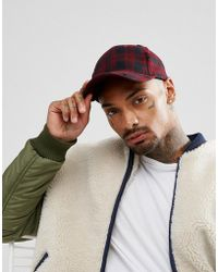 ASOS - Baseball Cap In Black And Red Check With Distressing - Lyst