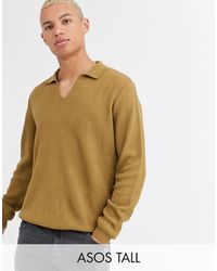 ASOS Tall Knitted Polo Neck Sweater - Brown