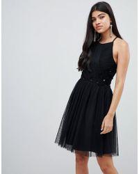 Little Mistress Pleated Mini Skater Dress In Black