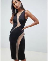 ASOS Vestido midi ajustado con detalle de malla y strass con aberturas - Negro