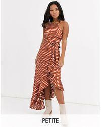 New Look Атласное Платье Рыжего Цвета В Горошек С Оборкой И Поясом -коричневый - Многоцветный