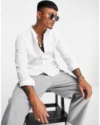 Pull&Bear Linen Shirt - White