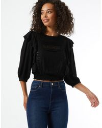 Miss Selfridge Prairie Blouse - Black