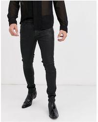 ASOS Super Skinny Coated Leather Look Jeans - Black