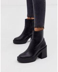 New Look Platform Heeled Boots In Black